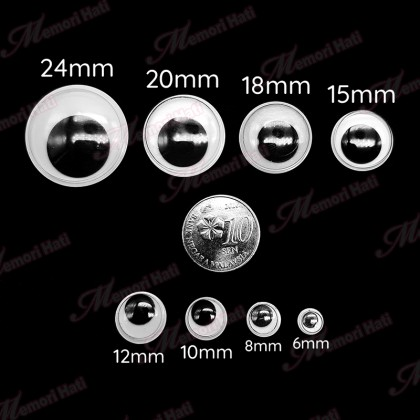 Wiggle Wiggly Eyes / Biji Mata / Size 6mm, 8mm, 10mm, 12mm, 15mm, 18mm, 20mm & 24mm