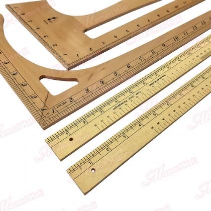 "1pc Wooden Tailoring Ruler / Pembaris Kayu Jahit / 18"", 24"", Curve, Big L, Small L & Six Foot"